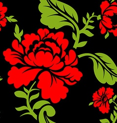 Red Rose seamless pattern Floral texture Russian vector