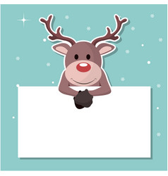 reindeer christmas card sticking out on a sign vector image