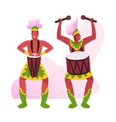 rio carnival musicians in feather clothing on vector image