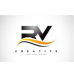 Rv r v swoosh letter logo design with modern vector