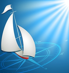 Sailfish with compass in the blue ocean for vector