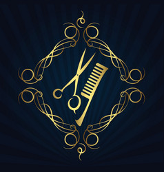 Scissors and hairbrush for hairdressers vector