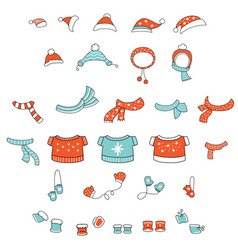 set cute colorful christmas clothes vector image