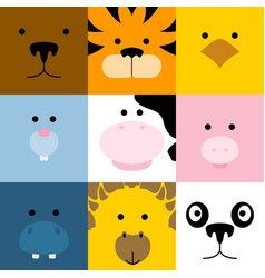 Set of cute simple animal faces vector