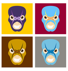 Set of super hero in mask icon in flat style vector
