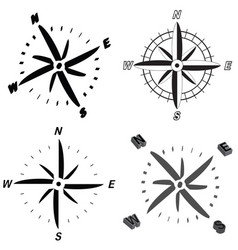 set of wind rose icons vector image