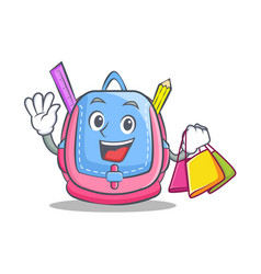 shopping school bag character cartoon vector image