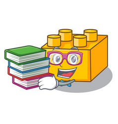 Student with book plastic building tyos shaped on vector