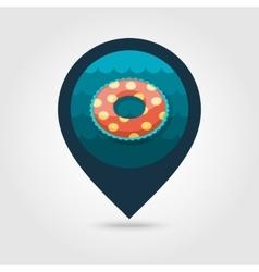 Swimming circle on water pin map icon Vacation vector