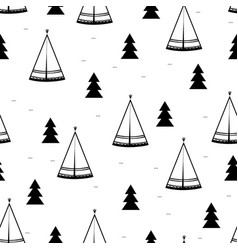 teepee native american tent seamless pattern vector image