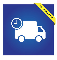 Truck with time fast delivery icon vector