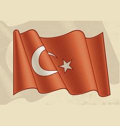 vintage flag turkey vector image