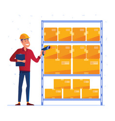 Warehouse worker is checking the boxes with qr vector