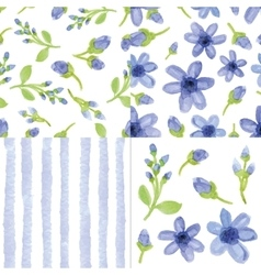 Watercolor blue flowersstrips seamless pattern vector image