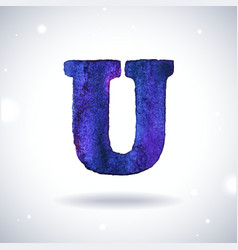 Watercolor letter U vector image