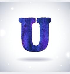 Watercolor letter U vector