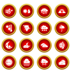 Weater icons set simple style vector