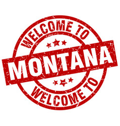 Welcome to montana red stamp vector