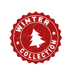 Winter collection grunge stamp seal with fir-tree vector
