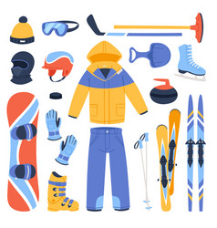 Winter sport and clothes icons snow ski vector