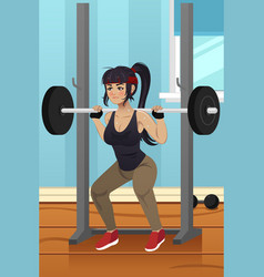 Woman lifting weight vector