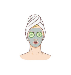 woman with facial mask and cucumbers vector image