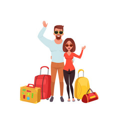 Young couple with travel bags waving hands people vector