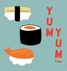 Yum yum sushi vector