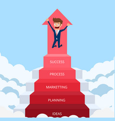 businessman going up to success vector image