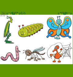 cartoon insect characters set vector image vector image