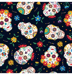 Day of the dead floral skull pattern background vector image