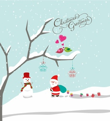 Merry christmas with santa claus snowman and gift vector image