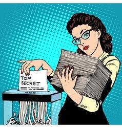 Paper shredder top secret document destroys the vector image