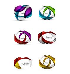 Set of hexagon shape business emblems vector