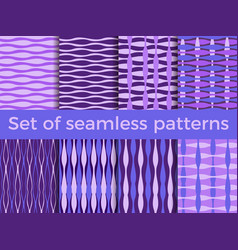 set of seamless striped patterns curved line vector image