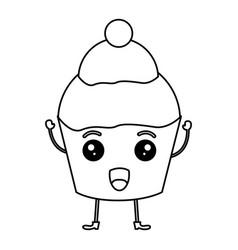 sweet cupcake kawaii character vector image vector image