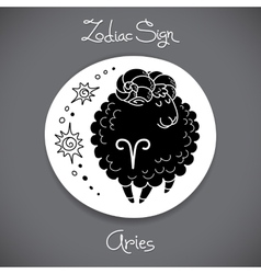 Aries zodiac sign of horoscope circle emblem in vector image vector image