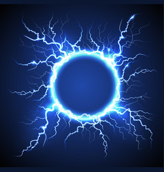 circle lightning realistic blue background vector image vector image