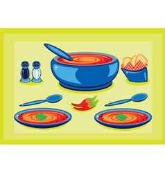 cooking pot and plates vector image vector image
