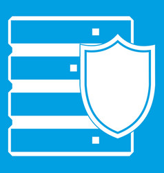 database with shield icon white vector image vector image