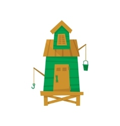 Green Beach Fisherman Cabin vector image