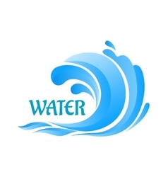 Sea wave symbol with water splashes vector