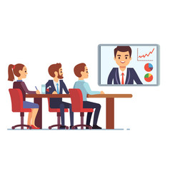 Video meeting in office boardroom with ceo and vector