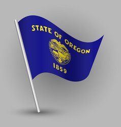 waving triangle american state flag oregon vector image vector image
