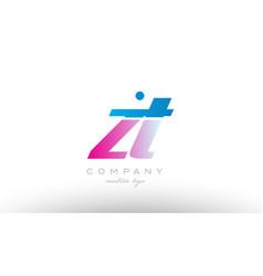 zt z t alphabet letter combination pink blue bold vector image vector image