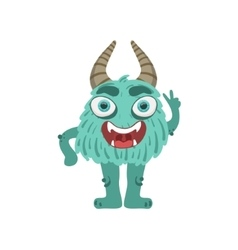 Furry Turquoise Friendly Monster With Horns vector image