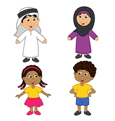 set of isolated children of muslim and african vector image vector image