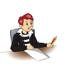 thoughtful student with pencil and blank paper vector image vector image