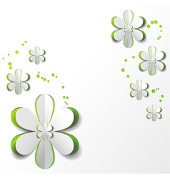 White Paper Flower in Green background vector image vector image