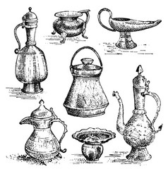 ancient cooper vases jug set greek or arabic vector image